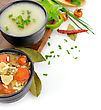 Chicken And Wild Rice Soup And Potato Cream Soup stock photography
