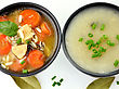 Chicken And Wild Rice Soup And Potato Cream Soup, Top View stock image