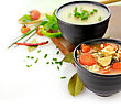 Chicken And Wild Rice Soup And Potato Cream Soup stock photo