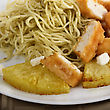 Chicken With Pasta, Pineapple And Cheese stock photography
