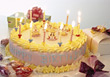 Child's Birthday Cake With Yellow Frosting & Gifts stock photo