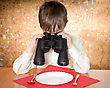 Child Looks At A Plate Throught A Binoculars stock photography