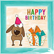 Childish Birthday Card With Funny Dog, Vector Format