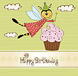 Childish Birthday Card With Funny Dressed Bee, Vector Illustration stock illustration