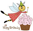 Childish Birthday Card With Funny Dressed Bee, Vector Illustration stock vector