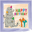 Childish Birthday Card With Funny Elephants, Vector Format