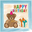 Childish Birthday Card With Teddy Bear, Vector Format
