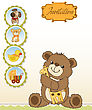 Childish Greeting Card With Teddy Bear And His Toy, Vector Illustration stock illustration