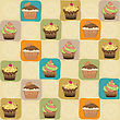 Childish Seamless Pattern With Cupcakes, Vector Illustration