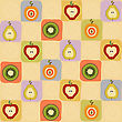 Childish Seamless Pattern With Fruits, Vector Illustration stock illustration