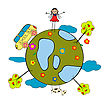 Childlike Drawing With Little Girl, School Bus And Globe stock illustration