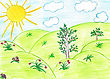 Children's Drawing By Hand, Drawing By Pencils stock illustration
