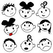 Children Expressions, Stylized Drawing Over White