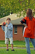 Playful Children Playing Backyard Football stock image