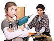 Children Pretending To Be Builders stock photography