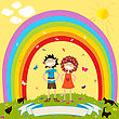 Laughing Children And Rainbow With Label For Text stock vector
