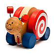 Children's Toys - Wooden Snail On Wheels With A Rope stock image