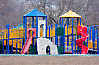 Tires Childs Playground Sits Empty In The Park stock image