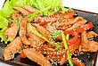 Chinese Salad Closeup With Spicy Meat And Vegetable stock image