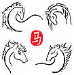 Chinese Zodiac. 2014 Vector Horses Symbols White Isolated