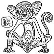 Chinese Zodiac. Chinese Animal Astrological Sign, Monkey. Vector Illustration