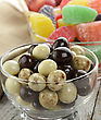 Chocolate Balls And Fruit Candies With Apples stock photo