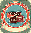 Chocolate Sweets Label Set On Old Paper Texture.Vintage Background