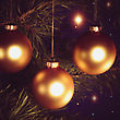 Yuletide Christmas Background With Baubles And Beauty Bokeh stock photo