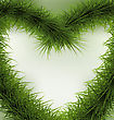 Christmas Background Heart Shaped Wreath, Space For Text - Vector Illustration