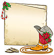 Christmas Background With Horseshoes And Red Poinsettia On Cowboy Hat.Vector Paper Illustration For Text