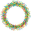 Christmas Background Round Border Frame For Lettering Title From Colourful Particles Confetti - Vector