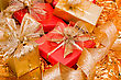 Piled Christmas Background. Shiny Gifts stock photo
