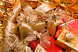 Christmas Background. Shiny Gifts stock photo