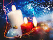 Evening Christmas Backgrounds With Candles And Garland For Your Design stock photography