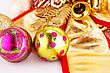 Christmas Balls And Decorations Closeup Image stock image