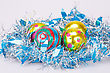 Christmas Balls And Blue Garland On Gray Background stock photo