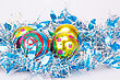 Christmas Balls And Blue Garland On Gray Background stock photography