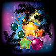 Christmas Balls And Decorations On Color Background