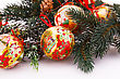 Christmas Balls With Fir Tree Branch Isolated On White Background stock photo