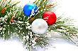 Christmas Balls And Fir Tree stock photo