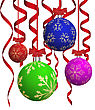 Christmas Balls With Red Ribbons