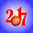 Christmas Banner. 2017 New Year Poster On Blue Winter Background