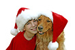 Christmas Boy and Dog stock photo