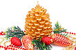 Christmas Candle, Cones And Fir Tree Branches Isolated On White Background stock photo