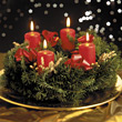 Wreath Christmas Candles stock photo
