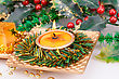 Firttree Christmas Candles And Decoration On Gray Background stock photo