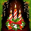 Christmas candles, holly, mistletoe and ribbon stock illustration