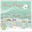 Christmas Card Background With Cityscape And Santa In Sky Moon.Vector Illustration stock image