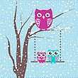 Christmas Card With Cute Owls Family, A Branch With Family Of Owls In Winter Time
