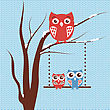 Christmas Card With Owls Family Sitting On The Tree Branch On Blue Knitted Background. Vintage Vector Greeting Card